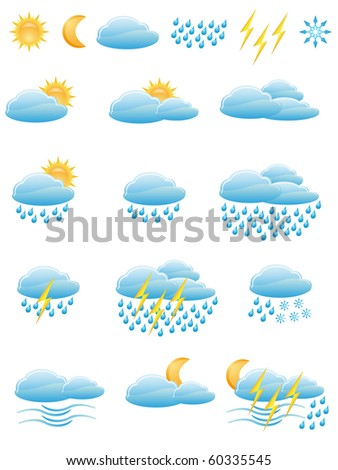 icons of weather vector illustration isolated on white background - stock vector
