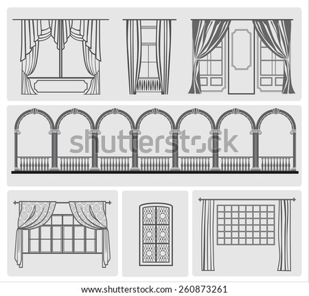 icons of window with curtains, vector illustration - stock vector
