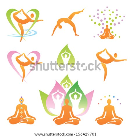 Icons of yoga positions, meditation  and symbols. Vector illustration. Image contains gradient mesh. - stock vector