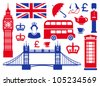 Icons on a theme of England - stock vector