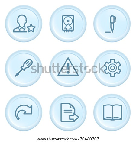 Icons on blue button 7 - stock vector