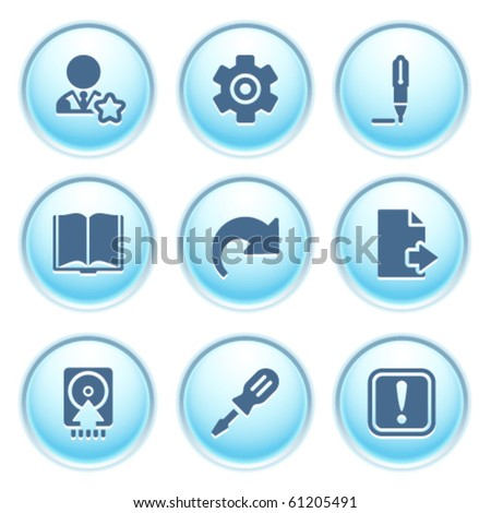 Icons on blue buttons 6 - stock vector