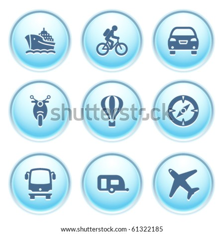 Icons on blue buttons 20 - stock vector