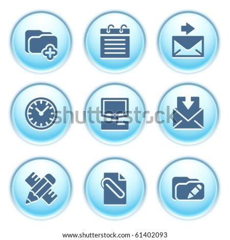 Icons on blue buttons 27 - stock vector
