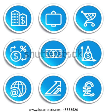 Icons on blue stickers 23 - stock vector
