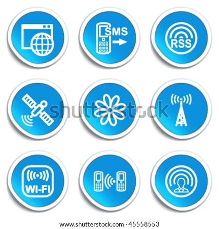 Icons on blue stickers 30