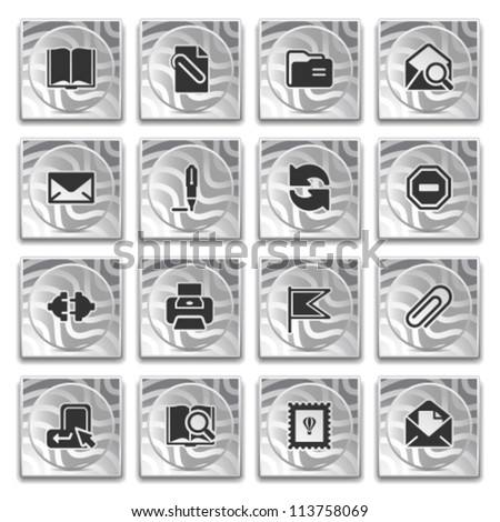 Icons on buttons with pattern, set 3. - stock vector