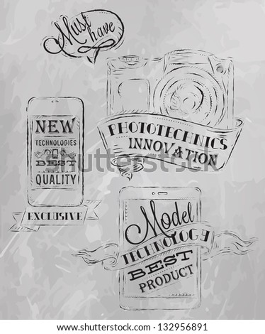 Icons on modern technology mobile tablet device camera in vintage style stylized under the chalk drawings gray - stock vector