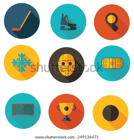 icons on the topic of hockey - stock vector