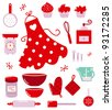 Icons or accessories for housewife isolated on white - stock vector