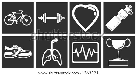 icons or design elements relating to health and fitness - stock vector