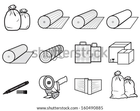 icons packages of goods: bag, boxes, stretch polyethylene, cardboard - stock vector
