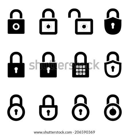icons padlocks. vector set. eps8 - stock vector