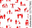 Icons - People, seamless wallpaper, vector illustration - stock vector