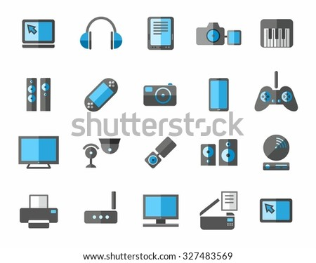 Icons photo and video equipment, non-ferrous, grey, blue. Colored flat icons photo and video equipment, audio equipment and computers. Grey and blue color on a white background.