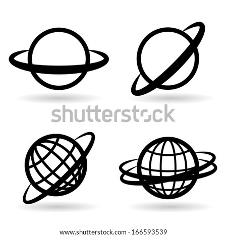 icons planet set. globes of the earth. vector. eps10 - stock vector