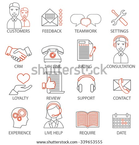 Icons related to support business management, strategy, career progress and business process. Mono line pictograms and infographics design elements - stock vector