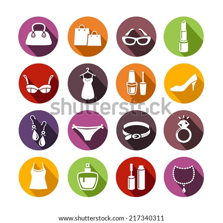Icons representing shopping items for ladies - stock vector