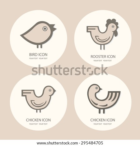 Icons rooster, chicken, baby chick. Vector logo set - stock vector