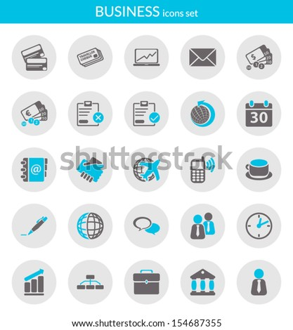 Icons set about business. Flat icons inside circles. - stock vector