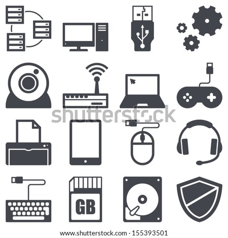 Icons set about computer and technology concept - stock vector