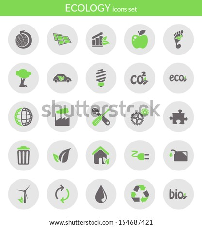 Icons set about ecology. Flat icons inside circles. - stock vector