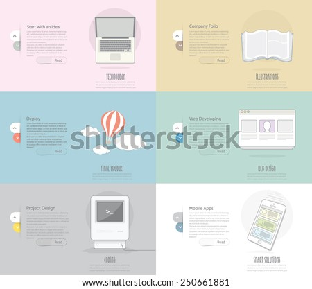 Icons Set Banner for Business, Web and print design - stock vector