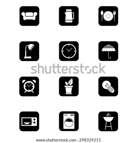 Icons set Black and White