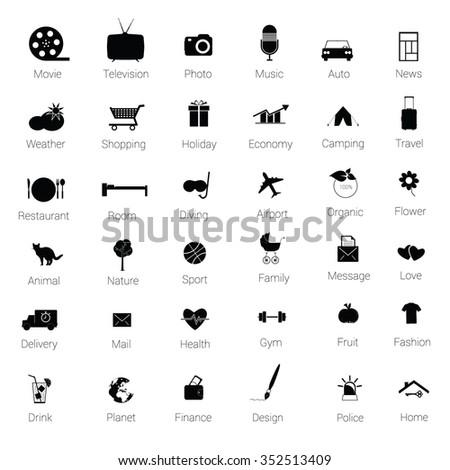 icons set black vector silhouette illustration - stock vector