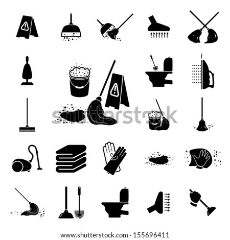 Icons set Cleaning. Vector illustration - stock vector