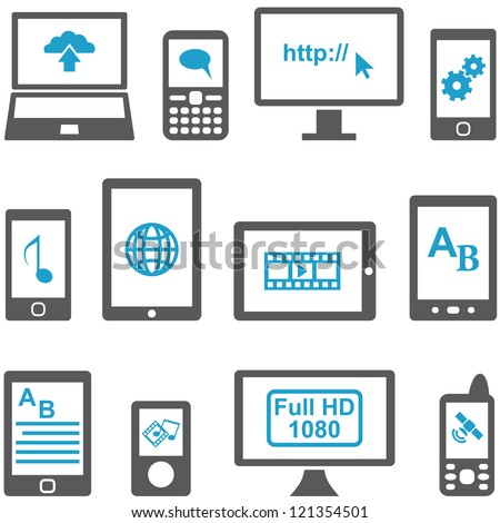 Icons set computers and mobile devices vector. Multimedia concept. - stock vector