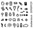 icons set doodles for online web applications in vector - stock vector