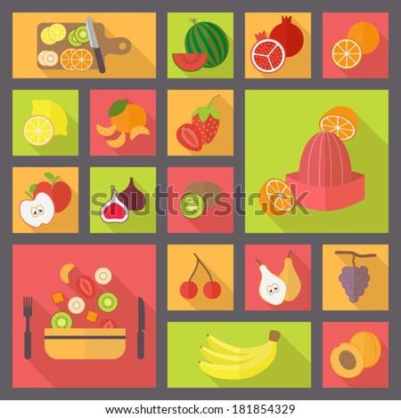 Icons set for cooking, restaurant, menu, fruits and vegetarian food. Flat design vector. - stock vector