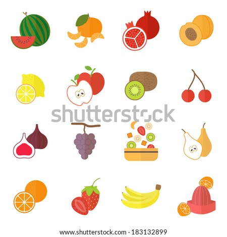 Icons set for cooking, restaurant, menu, fruits and vegetarian food. Flat design vector