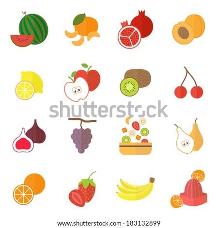 Icons set for cooking, restaurant, menu, fruits and vegetarian food. Flat design vector  - stock vector