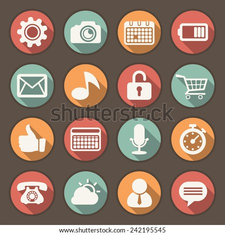 Icons set for mobile interfaces - stock vector