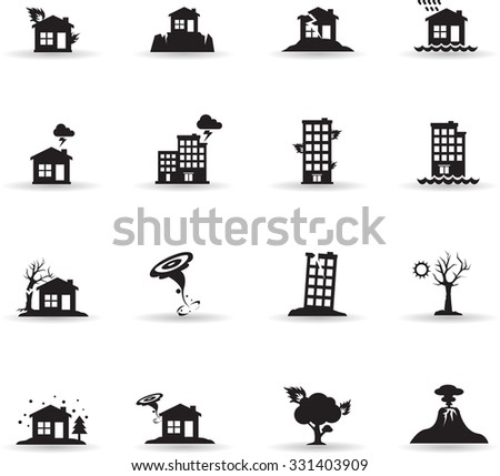 Icons set for Natural Disaster - stock vector