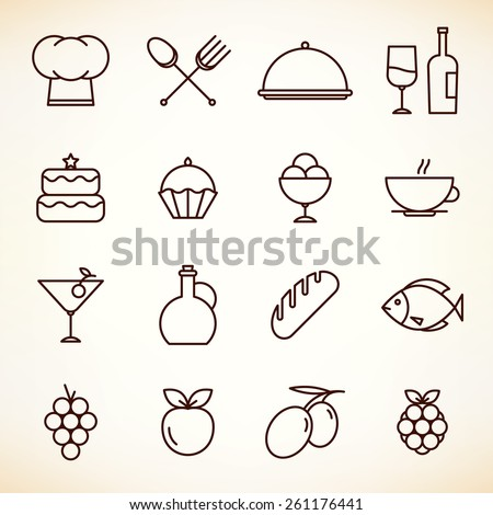 Icons set for restaurant, cafe and coffee house - stock vector