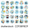 Icons set for web design, digital marketing, delivery, payment, online shop, content, business, social media, clothes sale in flat design - stock