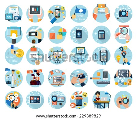 Icons set for web design, digital marketing, delivery, payment, online shop, content, business, social media, clothes sale in flat design - stock vector