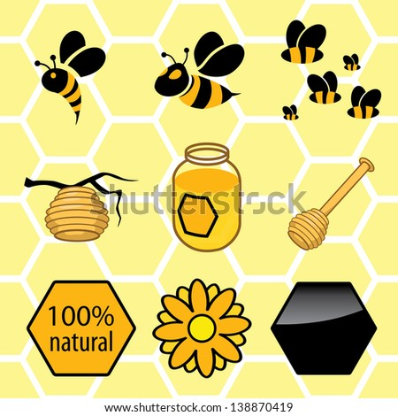 icons set honey. signs of bees, can with honey, hive on branch - stock vector
