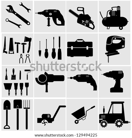 Icons set Industrial Tools.power tools vector - stock vector