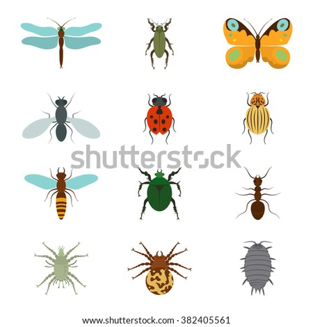 Icons set insects flat - dragonfly, beetle, butterfly, fly, ladybug, koroladsky beetle, wasp, bronzovik ant, tick, a spider, wood louse, vector illustration. - stock vector