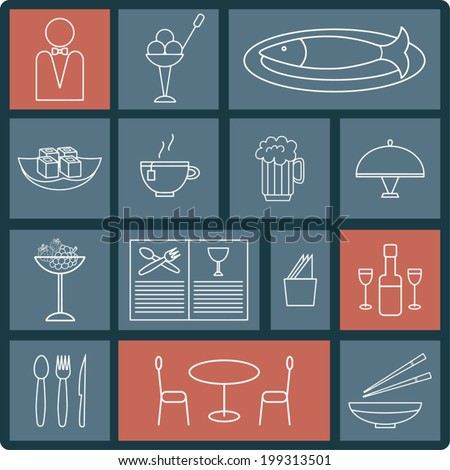 Icons set, isolated silhouettes for cooking and restaurant, white lines design  - stock vector