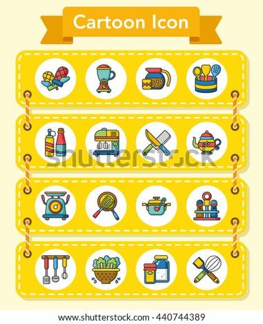 icons set kitchen vector - stock vector