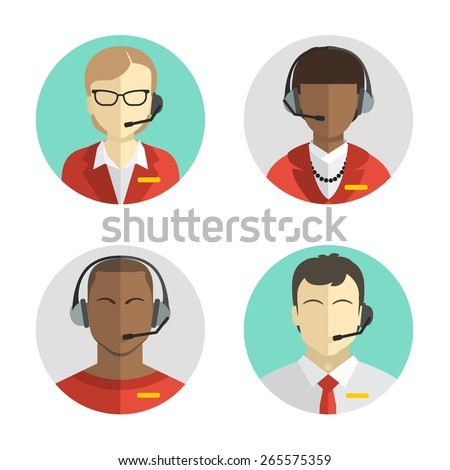 icons set Male and female call center avatars in a flat style with a headset, conceptual of communication. Vector - stock vector
