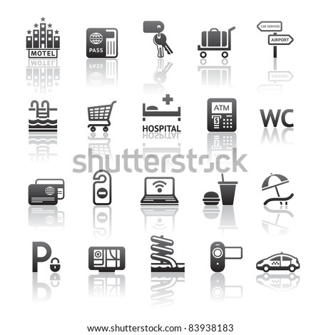 Icons set motel services. Pictogram hotel services. Gray reflection - stock vector
