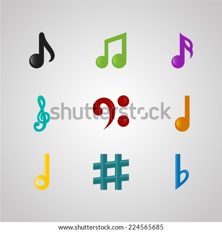 Icons set music note. Set of musical notes of different colors. - stock vector