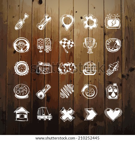 Icons Set of Car Symbols on Wood Texture. In the EPS file, each element is grouped separately. - stock vector