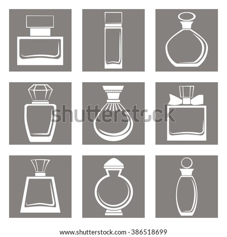 Icons set of different perfume bottles in vector format. Very easy to edit - stock vector